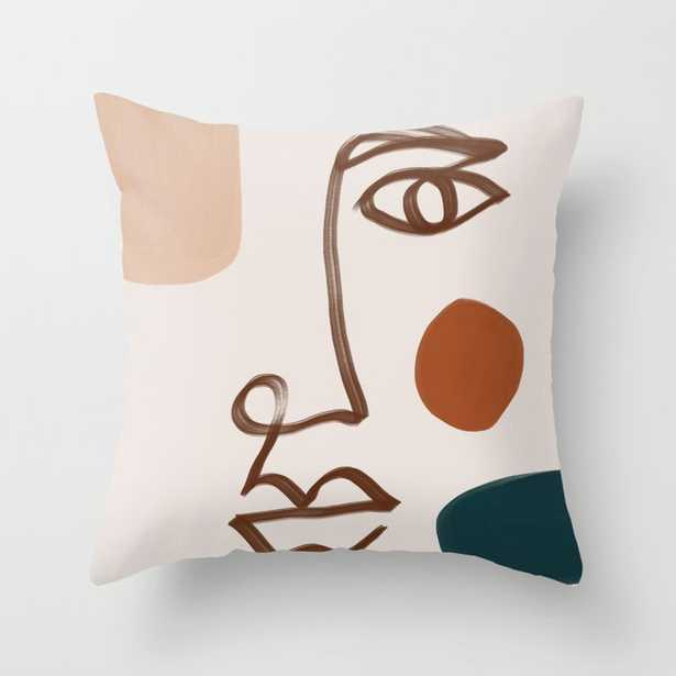 Face Line Art-Abstract Shape Composition Throw Pillow - Society6