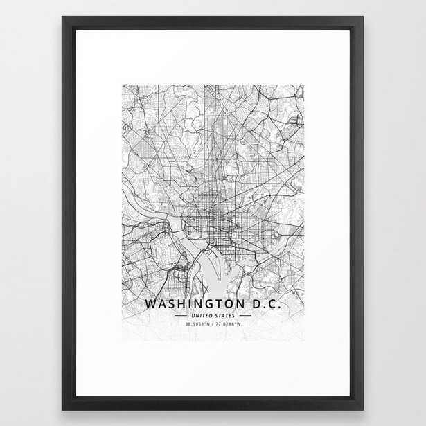 Washington D.C., United States - Light Map Framed Art Print - Society6