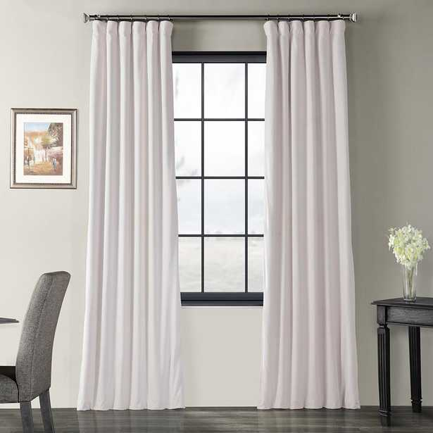 Exclusive Fabrics & Furnishings Blackout Signature Off White Blackout Velvet Curtain - 50 in. W x 108 in. L (1 Panel) - Home Depot