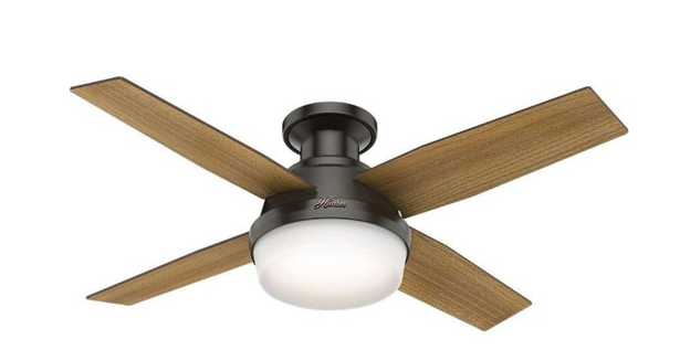 Hunter Dempsey 44 in. Low Profile LED Indoor Noble Bronze Ceiling Fan with Universal Remote - Home Depot
