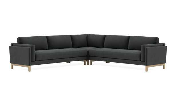 "GABY 4-Seat Corner Sectional - 128'' x 128'' - Deep (40"") - Cosmic Performance Velvet - White Wash Oak Single Wood Rail Leg - Bench Cushion - Down alternative - Interior Define"