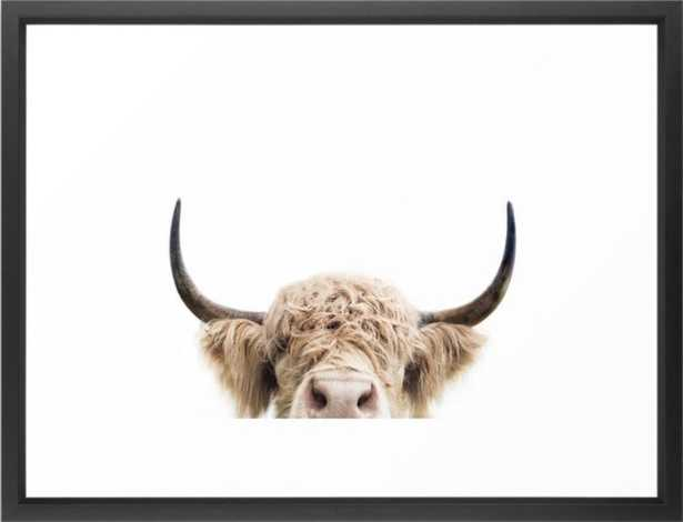 "Peeking Highland Cow Framed Art Print by Sisi And Seb, 20"" x 26"""", Walnut frame - Society6"