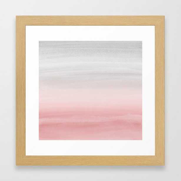 Touching Teal Blush Gray Watercolor Abstract #1 #painting #decor #art #society6 Framed Art Print - Society6
