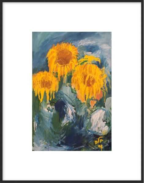 """Sunflowers in the Galilee Fields - 10"""" x 14"""" - matte black metal frame - Artfully Walls"""