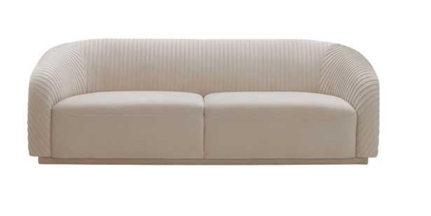 Miracle Pleated Beige Velvet Sofa - Maren Home
