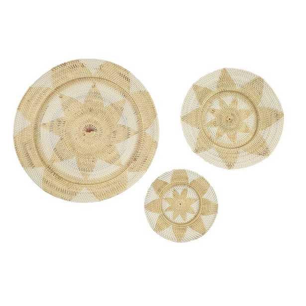 3 Piece Decorative and Round Wicker Basket Tray with Star Design Wall Décor Set - Wayfair