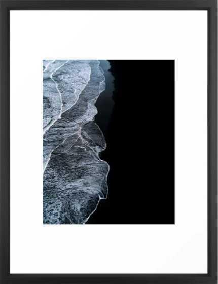 Waves on a black sand beach in iceland - minimalist Landscape Photography Framed Art Print - Society6