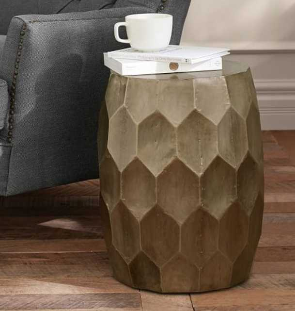 VINCE METAL-CLAD ACCENT STOOL - Pottery Barn