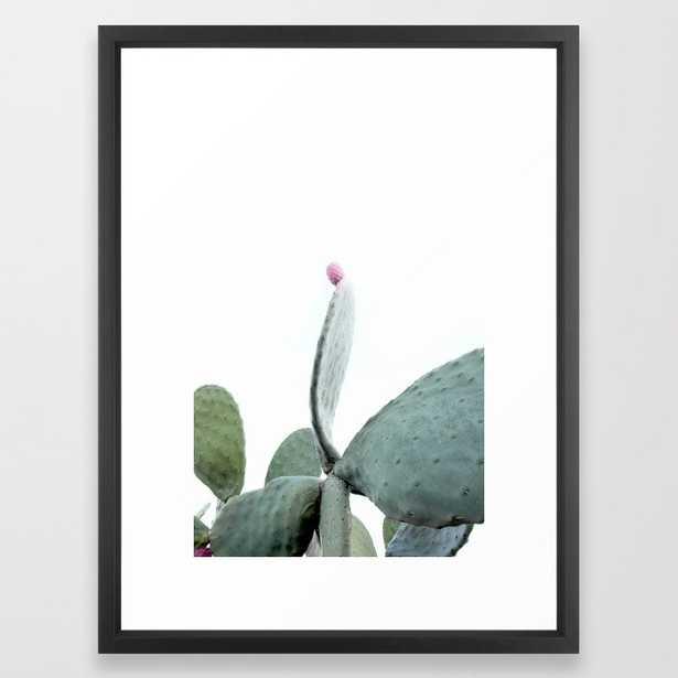 "Mint Green Cactus Framed Art Print - Vector Black - 20"" x 26"" - Society6"