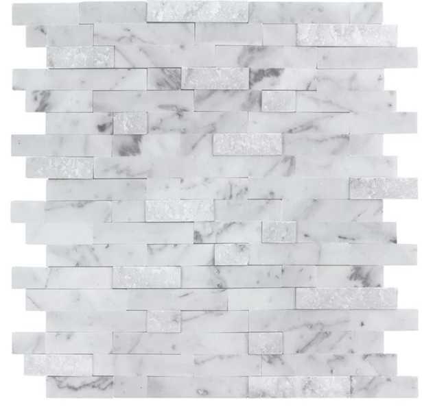 "Linear 10.83"" x 11.69"" Marble Peel & Stick Mosaic Tile in White/Gray - Wayfair"