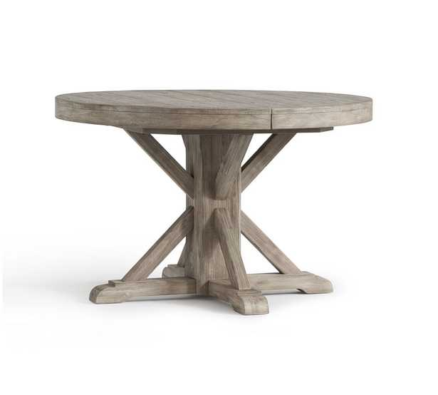 """Benchwright Extending Pedestal Dining Table, Gray Wash, 48"""" - Pottery Barn"""