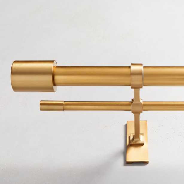 "Oversized Adjustable Metal Double Rod, 48""-88"", Antique Brass - West Elm"