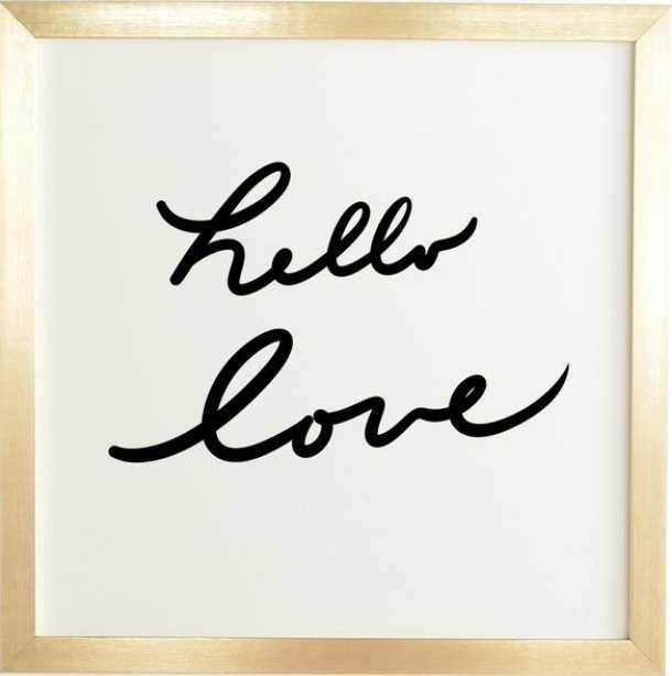 HELLO LOVE  Gold Framed Wall Art - 20x20 - Wander Print Co.
