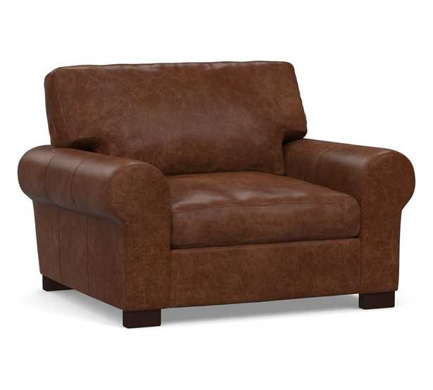 """Turner Roll Arm Leather Grand Armchair 48"""", Down Blend Wrapped Cushions/  Statesville Molasses - Pottery Barn"""