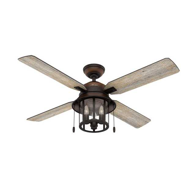 Copperhill 52 in. LED Indoor/Outdoor Brittany Bronze Ceiling Fan with Light Kit - Home Depot