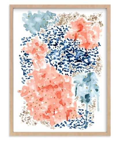 Flutter WatercoloR Natura Raw Wood Frame - Minted