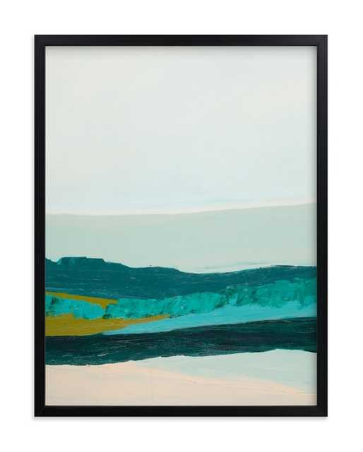 """Abstract Seascape Jade Green - 18"""" x 24"""" - rich black wood frame - Minted"""