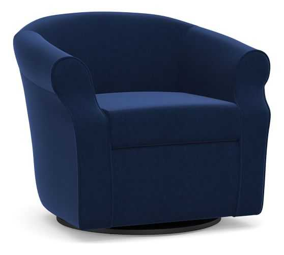 SoMa Lyndon Upholstered Swivel Armchair, Polyester Wrapped Cushions, Performance Everydayvelvet(TM) Navy - Pottery Barn