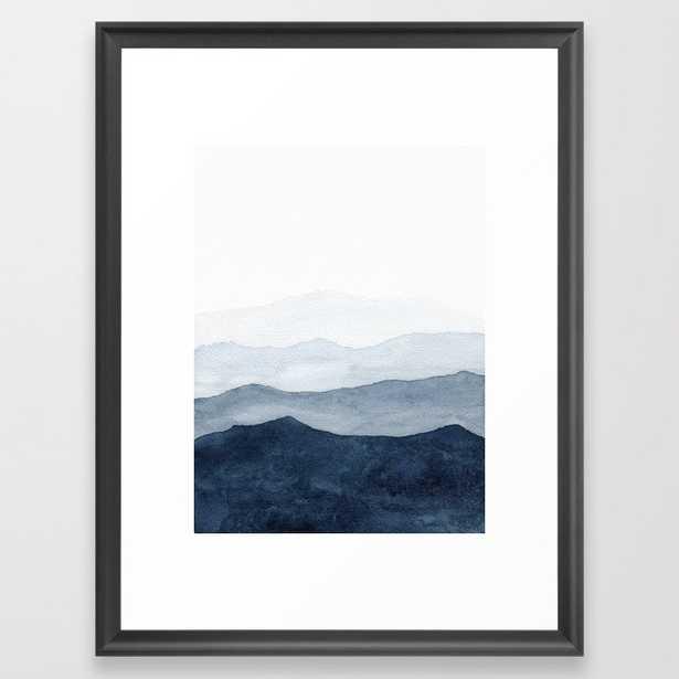 Indigo Abstract Watercolor Mountains Framed Art Print - Society6
