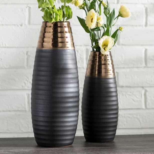 2 Piece Bronze/Dark Brown Indoor / Outdoor Ceramic Table Vase Set (Set of 2) - Wayfair