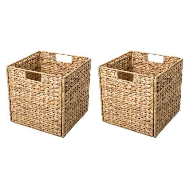 Hyacinth Foldable Storage Wicker Basket with Iron Wire Frame, set of 2 - Wayfair