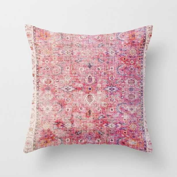 44 N45 - Pink Vintage Traditional Moroccan Boho & Farmhouse Style Artwork. Throw Pillow with Poly insert - Society6