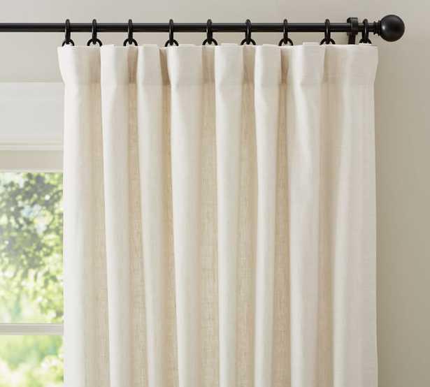 "Custom Classic Belgian Flax Linen Rod Pocket Blackout Curtain, 96 x 50"", Classic Ivory - Pottery Barn"