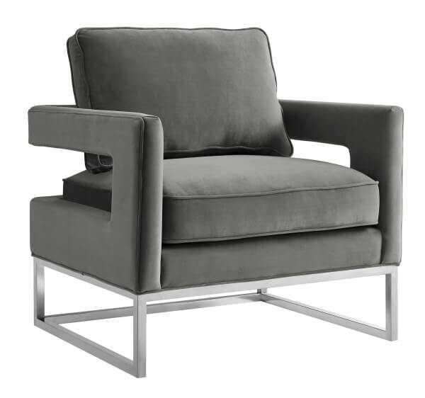 Aubrey Morgan Velvet Chair – Silver Frame - Maren Home