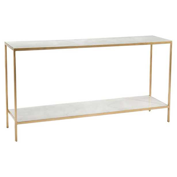 John Richard Modern Classic Austin A. James White Resin Top Gold Sofa Table - Kathy Kuo Home