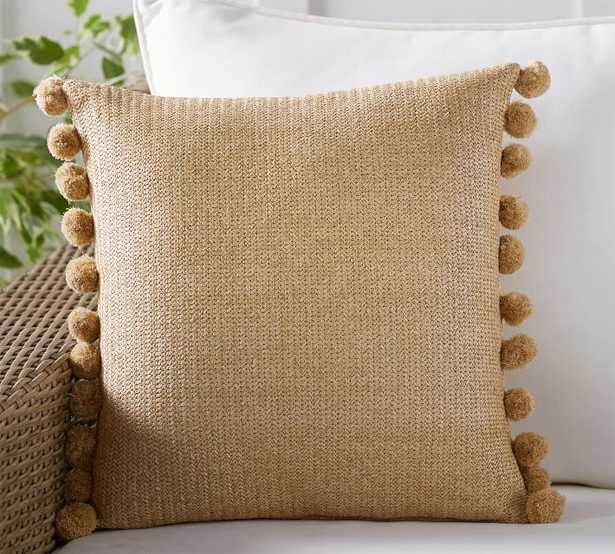 """Faux Natural Fiber Pom Pom Indoor/Outdoor Pillow, 18 x 18"""", Natural - Pottery Barn"""