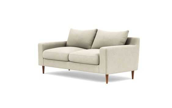 Sloan Loveseats with Beige Flax Fabric, down alternative cushions, and Painted Black legs - Interior Define