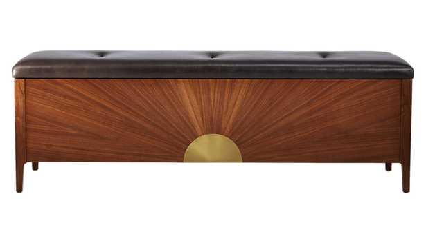 dusk leather and wood storage bench - CB2