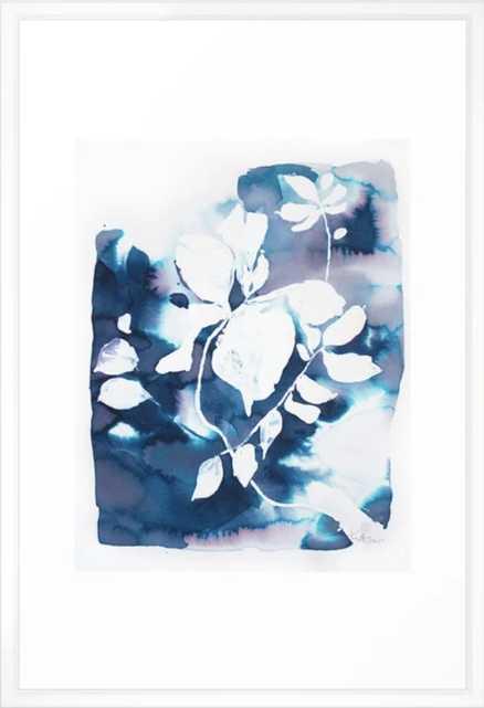 Indigo Blue Botanical Framed Art Print - Vector White - Large 26 x 38 - Society6