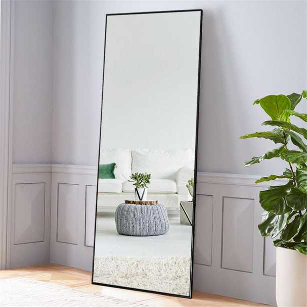 NeuType Black Aluminum Alloy Thin Frame Full Length Floor Mirror Standing Hanging or Leaning Against Wall - Home Depot