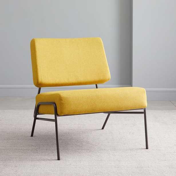 Wire Frame Slipper Chair, Dark Horseradish Flannel - West Elm