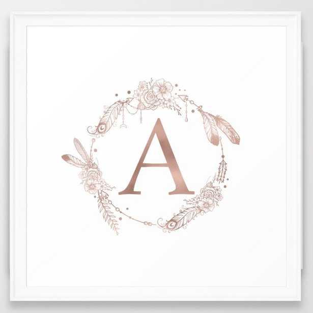 "Letter A Rose Gold Pink Initial Monogram Framed Art Print - Scoop White - 22"" X 22"" - Society6"