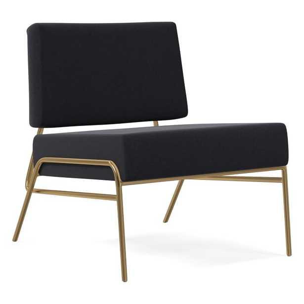 Wire Frame Slipper Chair, Poly, Performance Velvet, Shadow, Antique Brass - West Elm