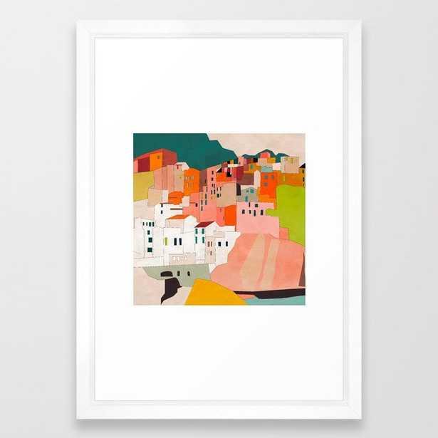 """italy coast houses - 15' x 21"""" - vector white - Society6"""
