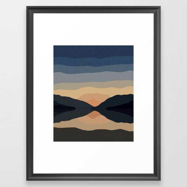 Sunset Mountain Reflection Framed Art Print - Society6