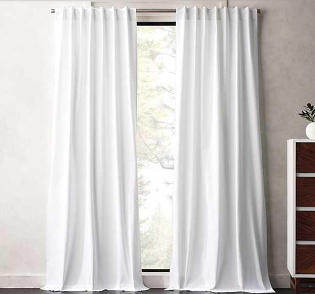 """White Basketweave II Curtain Panel 48""""x96"""""" - CB2"