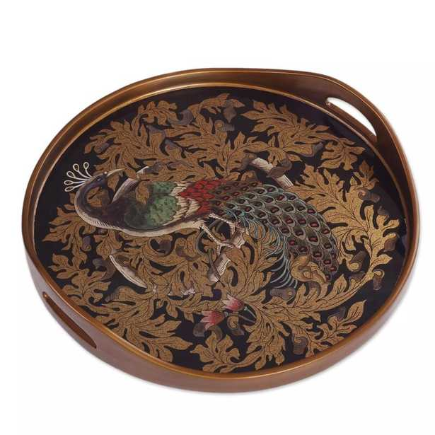 Odyssey Mystic Peacock Reverse Painted Glass Serving Tray - Wayfair