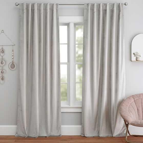 "Luster Velvet Curtain + Blackout Panel, Set of 2, Platinum 48""x96 - West Elm"