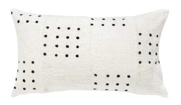 DOTTED MUD CLOTH LUMBAR PILLOW IN WHITE - PillowPia