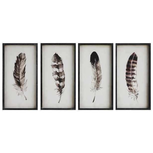 Englund Black & White Feather - 4 Piece Picture Frame Print Set on Wood - Birch Lane