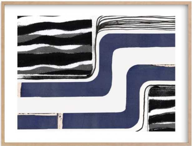 skip waves - natural raw wood frame, white border - Minted