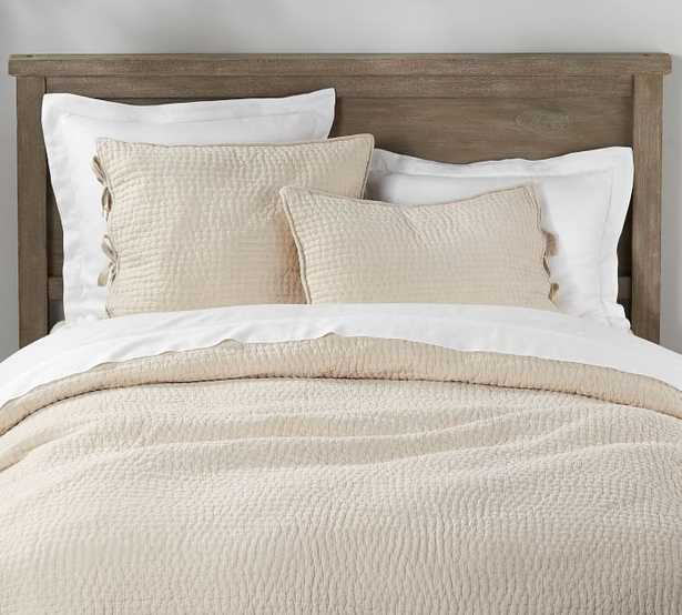 Pick-Stitch Handcrafted Quilt, King/Cal. King, Flax - Pottery Barn