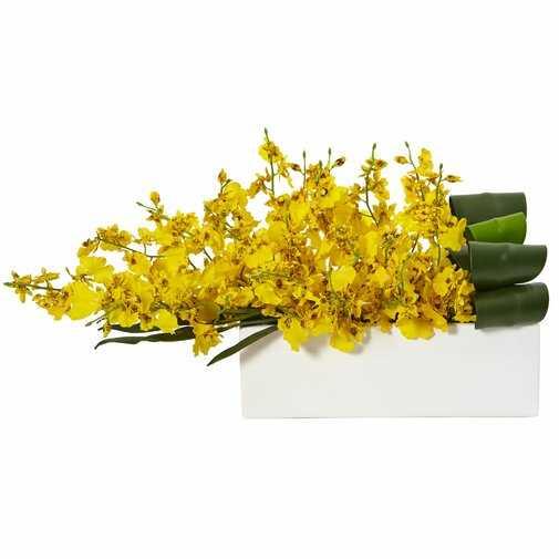 Silk Dancing Lady Orchid Floral Arrangement in Planter - Wayfair