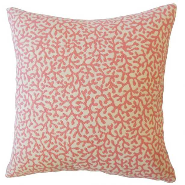 """Verena Coastal Pillow Coral, 20""""x20"""" with poly insert - Linen & Seam"""