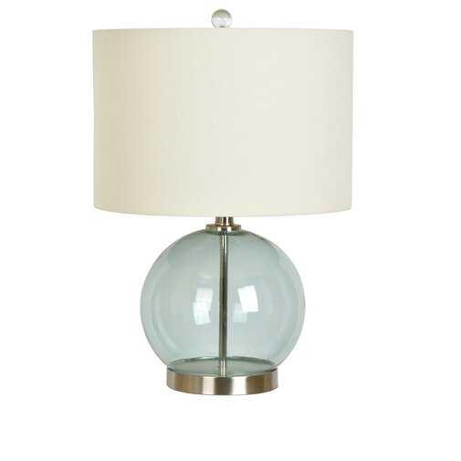 "Matherne 21"" Table Lamp - Transparent Seafoam Blue/Silver, Off-White - Wayfair"