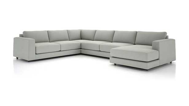 Peyton 4-Piece Right Arm Chaise Sectional-Fabric:Macey, Ash - Crate and Barrel